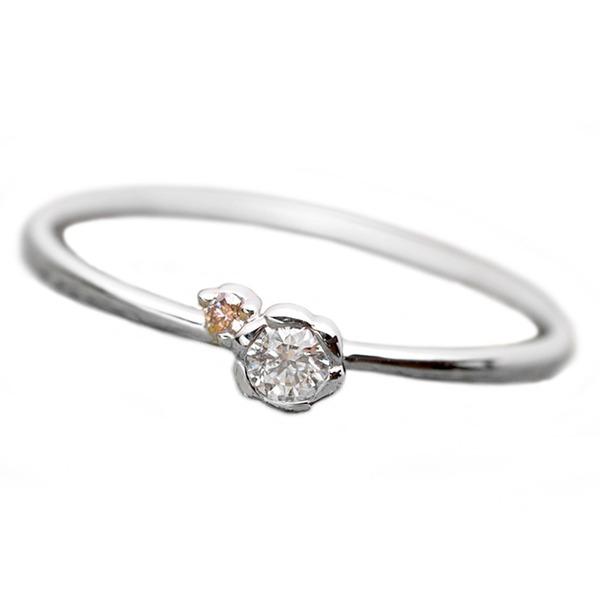 【鑑別書付】プラチナPT950 天然ダイヤリング 指輪 ダイヤ0.05ct ピンクダイヤ0.01ct 9.5号 フラワーモチーフ