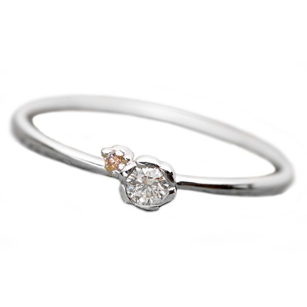 【鑑別書付】プラチナPT950 天然ダイヤリング 指輪 ダイヤ0.05ct ピンクダイヤ0.01ct 11.5号 フラワーモチーフ