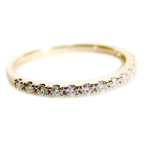 【鑑別書付】K18ピンクゴールド 天然ダイヤリング 指輪 ダイヤ0.20ct 9号 ハーフエタニティリング