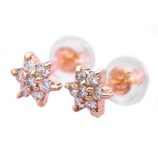 ダイヤモンド ピアス 0.2ct K18 イエローゴールド 0.2カラット 花 フラワーモチーフ ピアス 鑑別カード付き
