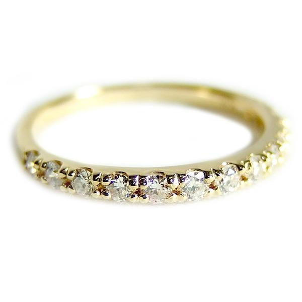 【鑑別書付】K18イエローゴールド 天然ダイヤリング 指輪 ダイヤ0.30ct 9号 ハーフエタニティリング
