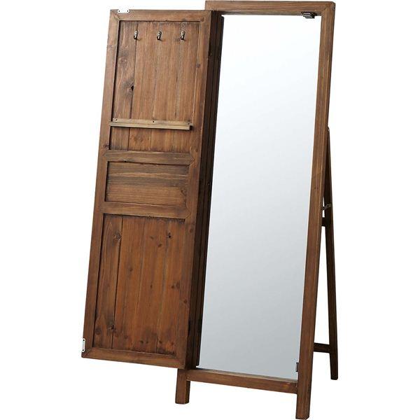 【スーパーセールでポイント最大44倍】スタンドミラー(ドアミラー) ソーレ 全身姿見鏡 高さ134cm 木製 TSM-13BR ブラウン