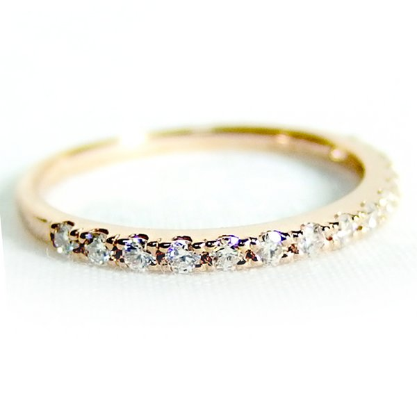 K18ピンクゴールド 天然ダイヤリング 指輪 ダイヤ0.20ct 10.5号 Good H SI ハーフエタニティリング