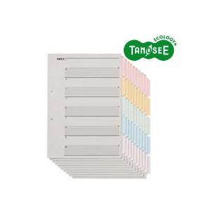 (まとめ)TANOSEE 見出しカード(エコノミータイプ) A4タテ 5色5山6枚 10組入×40パック