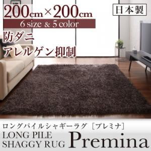 ラグマット 200×200cm【Premina】ブラウン ロングパイルシャギーラグ【Premina】プレミナ【代引不可】