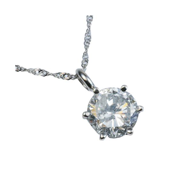 プラチナPt900 超大粒1.5ctダイヤモンドペンダント/ネックレス (鑑定書付き)