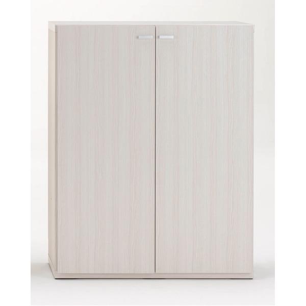 フナモコ リビングシェルフ 扉付き 【幅90×高さ113.8cm】 ホワイトウッド KFS-90【完成品】 日本製