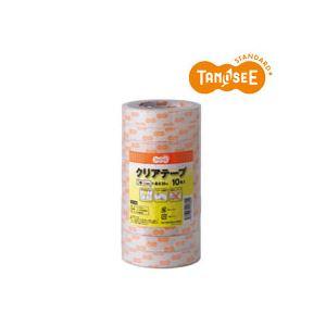 (まとめ)TANOSEE クリアテープ18mm×35m 10巻入×24パック