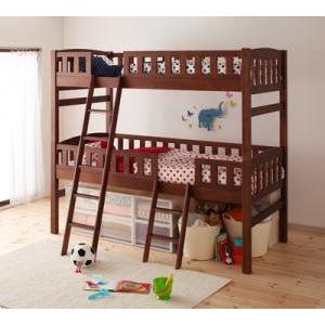 2段ベッド ブラウン 収納ができる天然木分割式2段ベッド【Pacio】パシオ【代引不可】