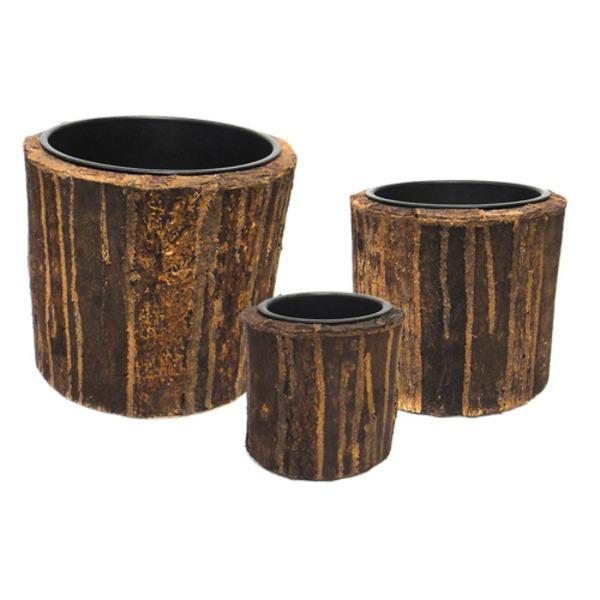 室内用植木鉢カバー 【ブラウン ラウンド型】 3サイズ×1組 インナーポット付 『タック』 〔園芸 ガーデニング用品〕