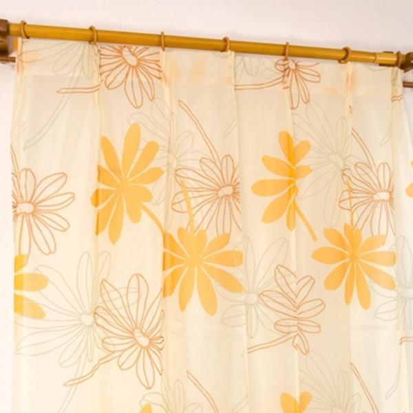 レースカーテン 2枚組 / 100cm×176cm オレンジ / ボタニカル リーフ柄 洗える 〔リビング〕 『Lプラム』 九装