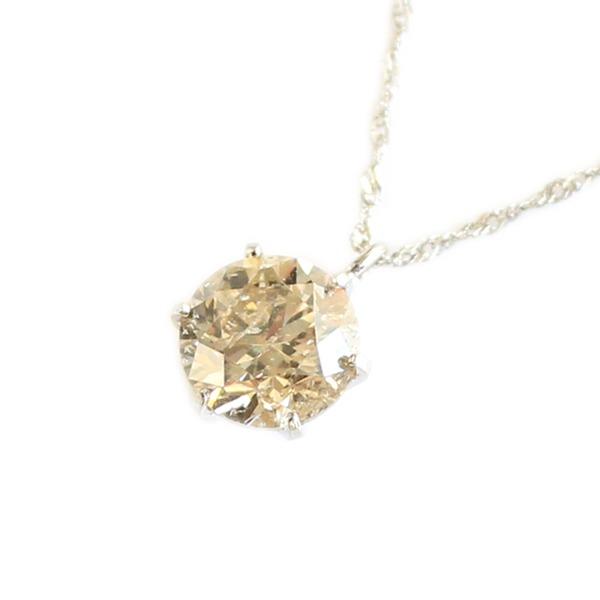 プラチナ 一粒 ダイヤモンド ネックレス ブラウンダイヤ ペンダント 【代引不可】