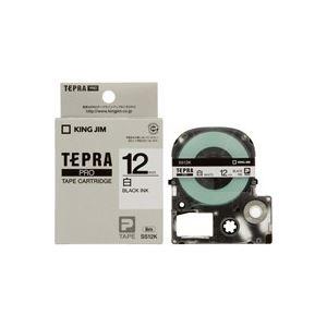 【マラソンでポイント最大43倍】(業務用50セット) キングジム テプラPROテープ/ラベルライター用テープ 【幅:12mm】 SS12K 白に黒文字