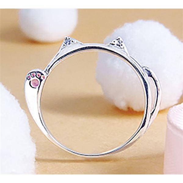 ダイヤモンド招き猫リング/指輪 【15号】 シルバー925 ダイヤモンド約0.02ct 日本製【代引不可】