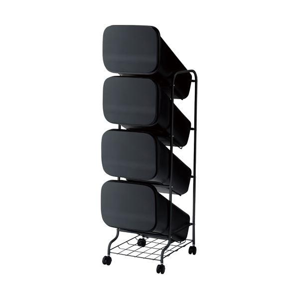 スタンド式 ダストボックス/ゴミ箱 【ブラック 19L×4段】 高さ122cm キャスター付き 『スムース』【代引不可】
