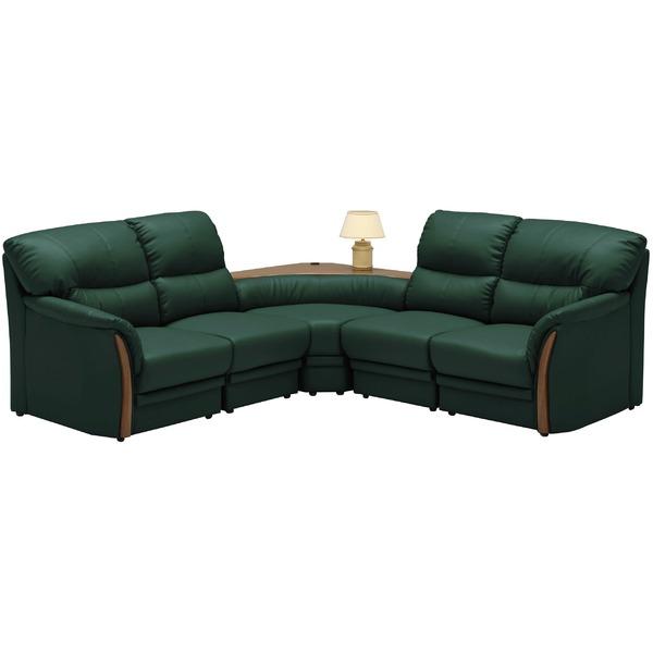 コーナーソファーセット 5点(コンセント付き) 材質:合成皮革(合皮) 肘付き グリーン(緑) 【完成品 開梱設置】【代引不可】