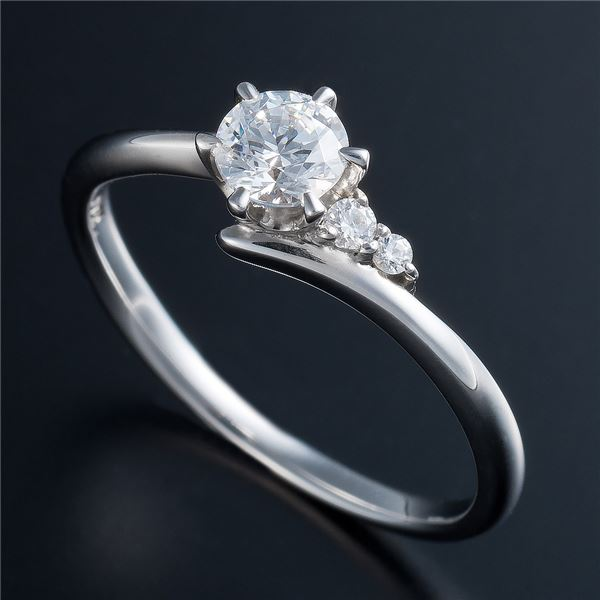 Dカラー・VVS2・EX Pt0.3ct ダイヤリング サイドダイヤモンド (鑑定書付き) 19号