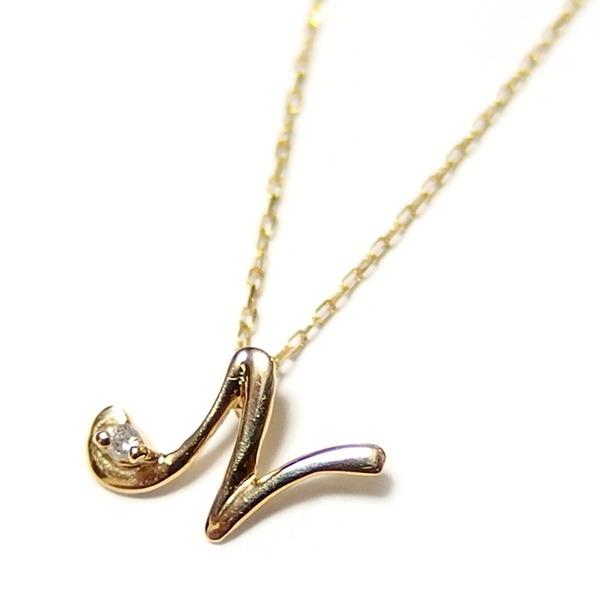 【マラソンでポイント最大44倍】イニシャル ネックレス ダイヤモンド ネックレス 一粒 0.01ct K18 ゴールド 文字 N ダイヤネックレス ペンダント