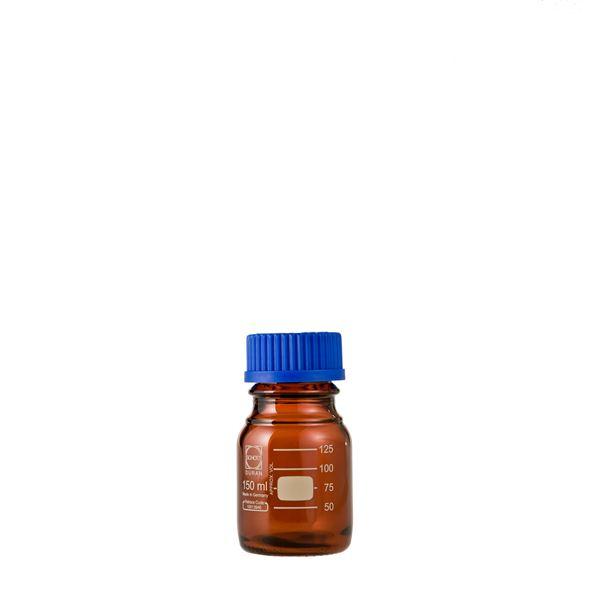 【柴田科学】ねじ口びん(メジュームびん) 茶褐色 青キャップ付 150mL【10個】 017210-150A