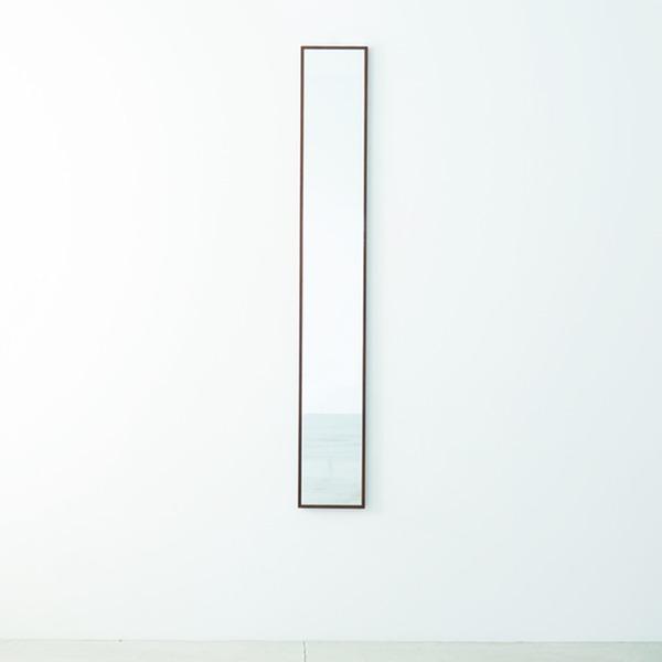 細枠ウォールミラー 幅22cm(ブラウン/茶) 天然木/姿見鏡/スリム/高級感/木製/飛散防止加工/壁掛け/北欧風/日本製/完成品/NK-5