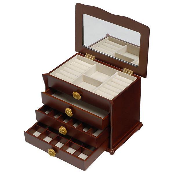 【スーパーセールでポイント最大44倍】大容量ジュエリーボックス(宝石箱) 4段収納 幅26cm 木製 コンパクト ブラウン 【代引不可】