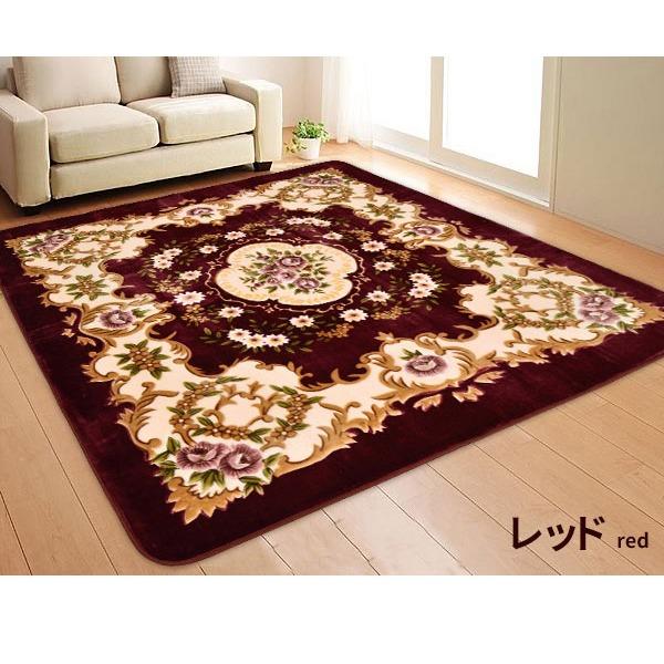 ラグマット 絨毯 / 220×220cm 正方形 レッド / 床暖房対応 フランネル地 防音 『アンタレス』 九装
