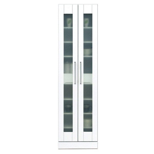 食器棚(キッチン収納庫) 【上置き付き】 幅50cm 飛散防止ガラス扉/可動棚付き 日本製 ホワイト(白) 【完成品】【代引不可】
