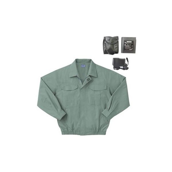 空調服 綿薄手長袖作業着 BM-500U 【カラーモスグリーン: サイズ M】 リチウムバッテリーセット