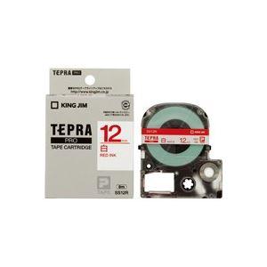 【マラソンでポイント最大43倍】(業務用50セット) キングジム テプラPROテープ/ラベルライター用テープ 【幅:12mm】 SS12R 白に赤文字