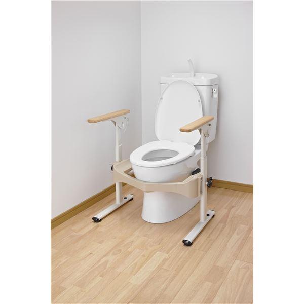 【スーパーセールでポイント最大44倍】アロン化成 トイレ用手すり 洋式トイレフレームSはねあげR-2(1)木製ヒジ掛ケ 533-087
