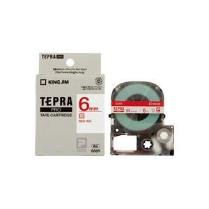 【マラソンでポイント最大43倍】(業務用50セット) キングジム テプラPROテープ/ラベルライター用テープ 【幅:6mm】 SS6R 白に赤文字