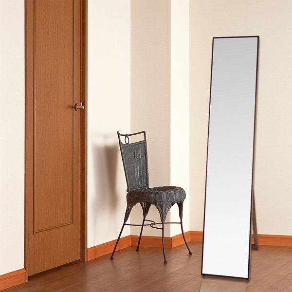 シンプル スタンドミラー/全身姿見鏡 【ダークブラウン】 幅32cm 飛散防止加工【代引不可】