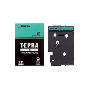 【マラソンでポイント最大43倍】(業務用30セット) キングジム テプラTRテープ TC9G 緑に黒文字 9mm
