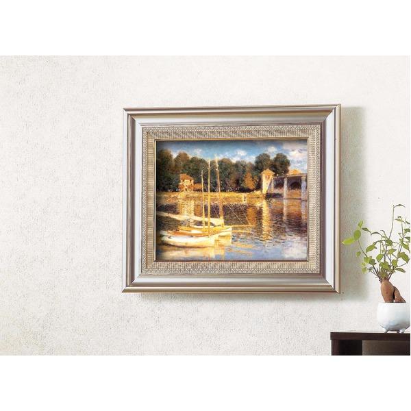 名画額縁/フレームセット 【F6AS】 モネ 「アルジャントーユの橋」 477×571×59mm 壁掛けひも付き