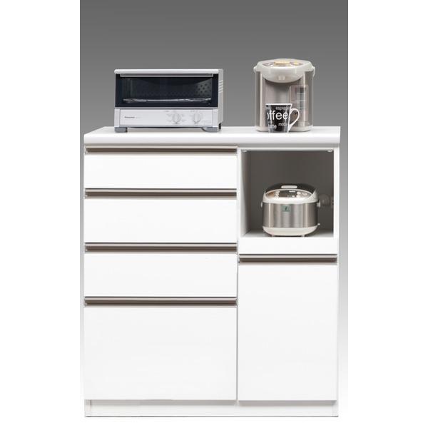 【開梱設置費込】キッチンカウンター ESシリーズ 90cm幅 レンジ台 ホワイト色 ハイタイプ 【日本製】【代引不可】