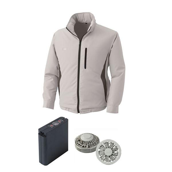 L】 カラー:シルバー フード付き ポリエステル 空調服/作業着 クラレ製 大容量バッテリーセット 【ファンカラー:グレー