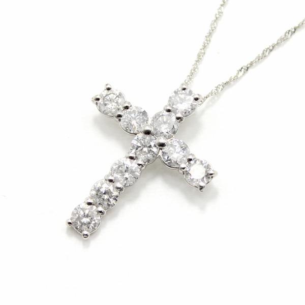純プラチナ 1ct ダイヤモンド クロスペンダント 【代引不可】