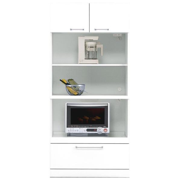 シンプルできれいな上置き棚付きキッチンボード キッチン収納棚 着後レビューで 送料無料 トリプルハイタイプレンジボード 上置き付き 幅80cm 可動棚 玄関渡し 二口コンセント付き ホワイト 完成品 白 手数料無料 代引不可