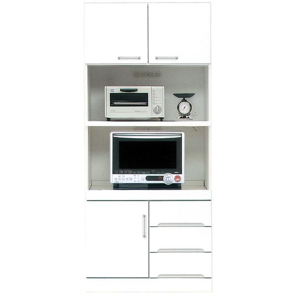 シンプルできれいな上置き棚付きキッチンボード NEW ARRIVAL キッチン収納棚 高級品 ハイタイプレンジボード 上置き付き 幅80cm 耐震ラッチ 二口コンセント付き 日本製 白 完成品 ホワイト 代引不可 玄関渡し