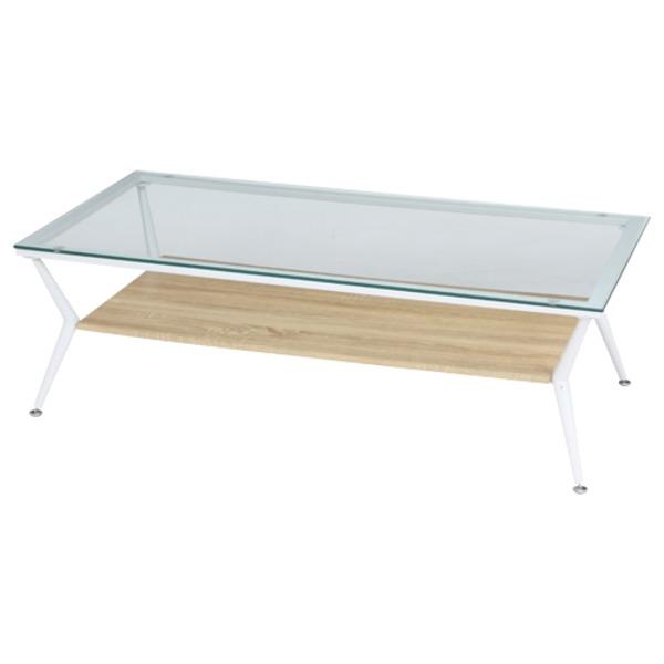 ガラス製リビングテーブル/ダイニングテーブル 【ナチュラル 幅120cm】 強化ガラス天板 スチールフレーム 収納棚付き 『クレア』【代引不可】