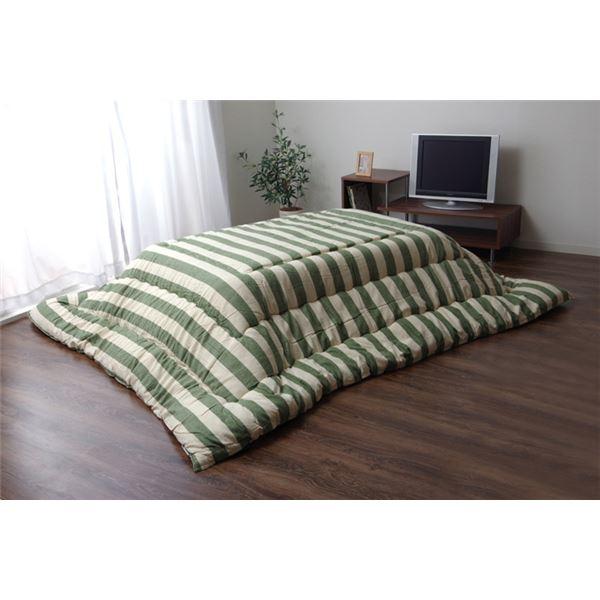 インド綿 こたつ布団 長方形 掛け単品 『ロカ』 グリーン 約205×245cm