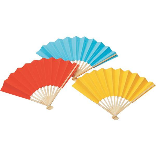 カラー扇子/せんす (まとめ)アーテック ブルー(青) 柄:竹 【×40セット】