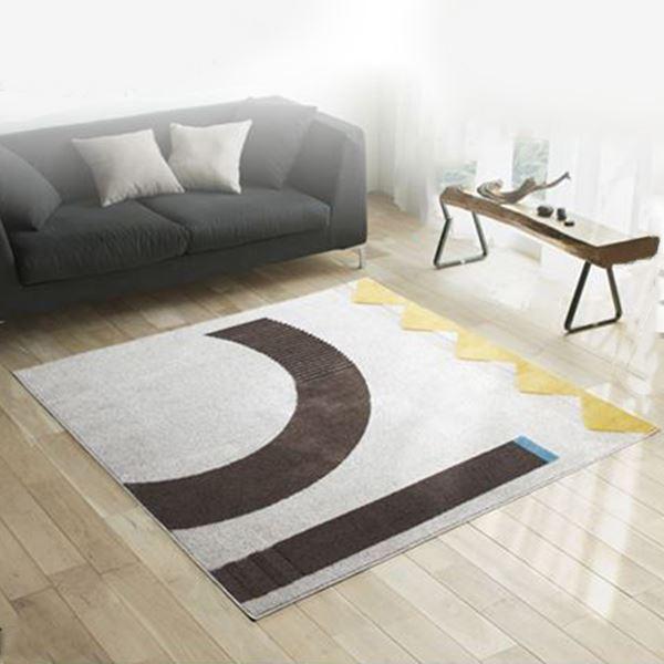 ラグマット/絨毯 【LINEKE RUG 200cm×200cm アイボリー】 正方形 日本製 『NEXTHOME』 〔リビング ダイニング〕【代引不可】