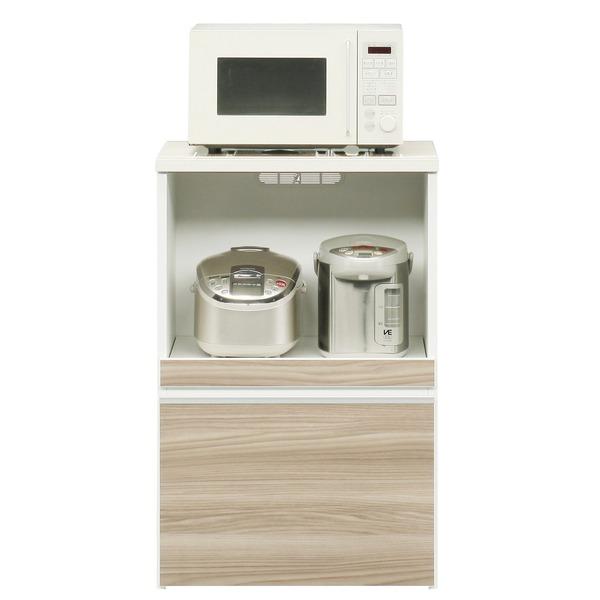 キッチンカウンター 幅60cm 二口コンセント/スライドテーブル/引き出し付き 日本製 ブラウン 【完成品】【玄関渡し】【代引不可】