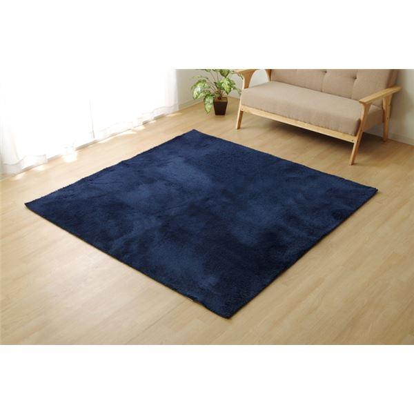 シャギー調 ラグマット/絨毯 【3畳 ネイビー 約200cm×250cm】 無地 洗える ホットカーペット可 選べる8色 『ラルジュ』