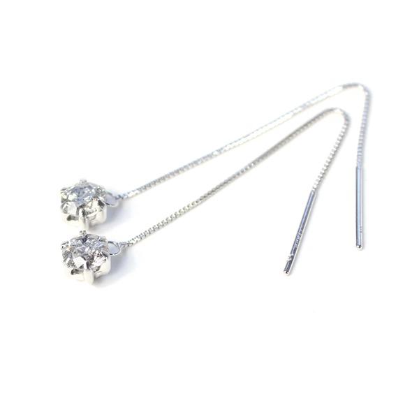プラチナ0.6ctダイヤモンド ショート アメリカンチェーンピアス【代引不可】