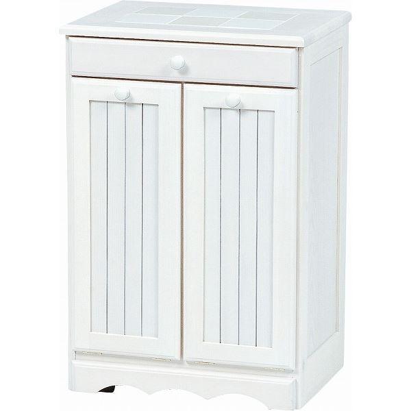 ダストボックス 木製おしゃれゴミ箱 2分別 15Lペール2個/キャスター付き 白(ホワイト) 【完成品】 【代引不可】