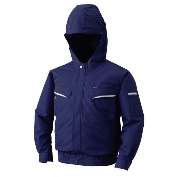 空調服 フード付綿・ポリ混紡 長袖ワークブルゾン リチウムバッテリーセット BK-500FC03S4 ネイビー 2L