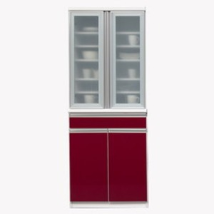 【開梱設置費込】食器棚 NTLシリーズ 70cm幅 高さ180cm ダイニングボード ワインレッド ハイグロス 【日本製】【代引不可】