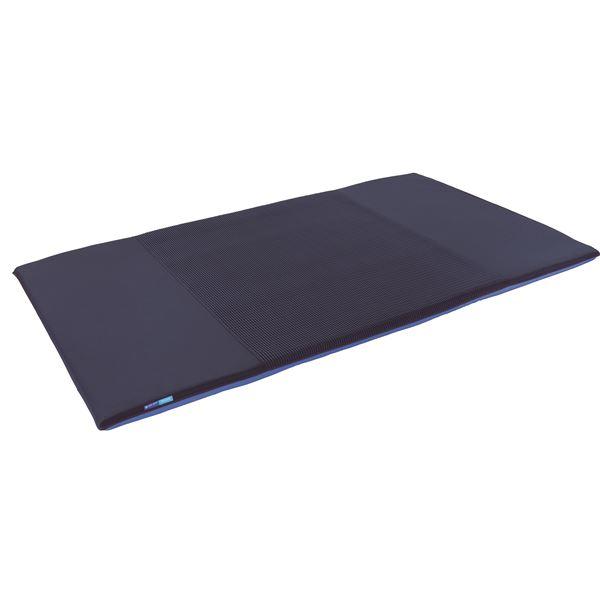 高反発マットレス/寝具 【セミダブルサイズ ブルー】 三つ折り 洗える 『キュービックボディプレミアム』